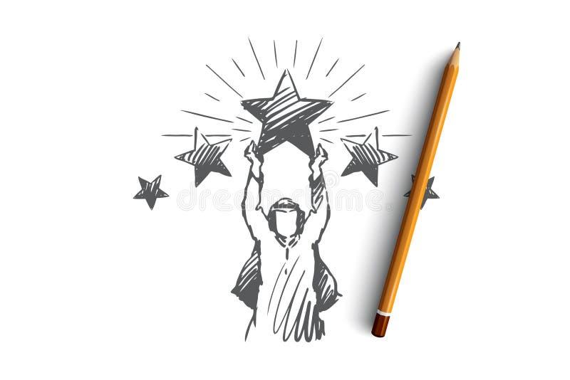 Muzułmanin, sukces, ocena, osiągnięcie, biznesmena pojęcie Ręka rysujący odosobniony wektor royalty ilustracja