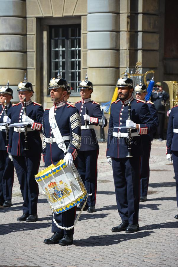 Muzycy przy Sztokholm pałac fotografia royalty free