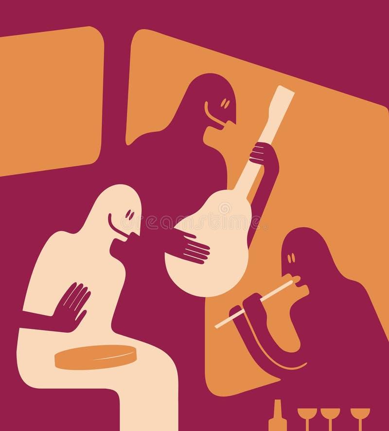 muzycy trzy ilustracji