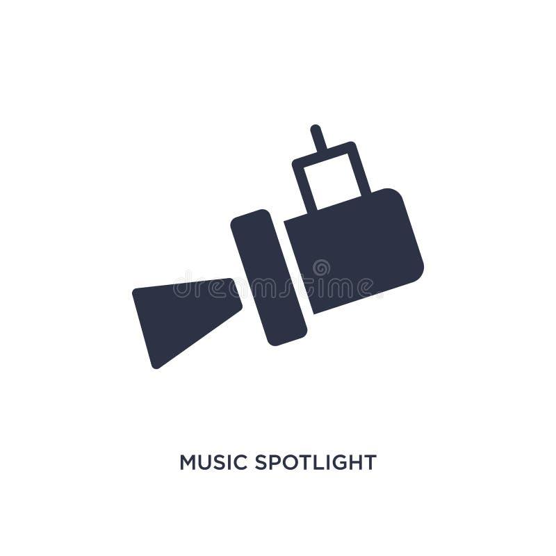 muzyczna światło reflektorów ikona na białym tle Prosta element ilustracja od muzycznego pojęcia royalty ilustracja