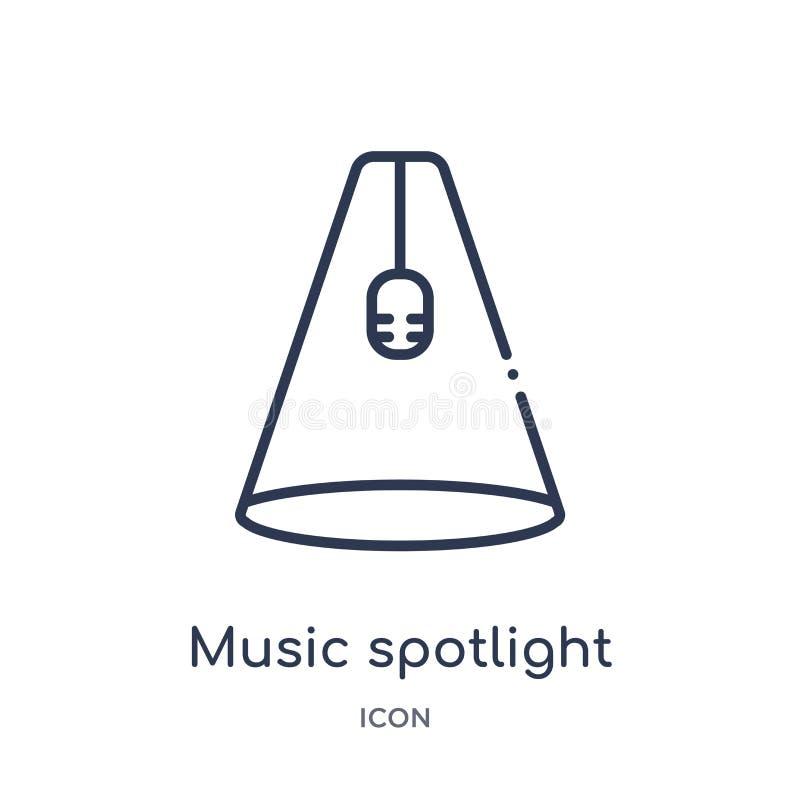 Muzyczna światło reflektorów ikona od muzycznej kontur kolekcji Cienieje kreskową muzyczną światło reflektorów ikonę odi ilustracji