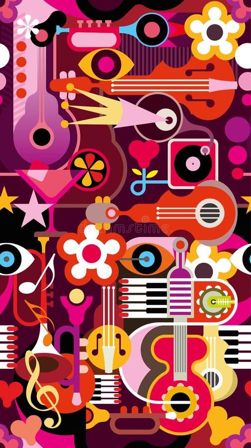 Muzyczna Bezszwowa tapeta royalty ilustracja