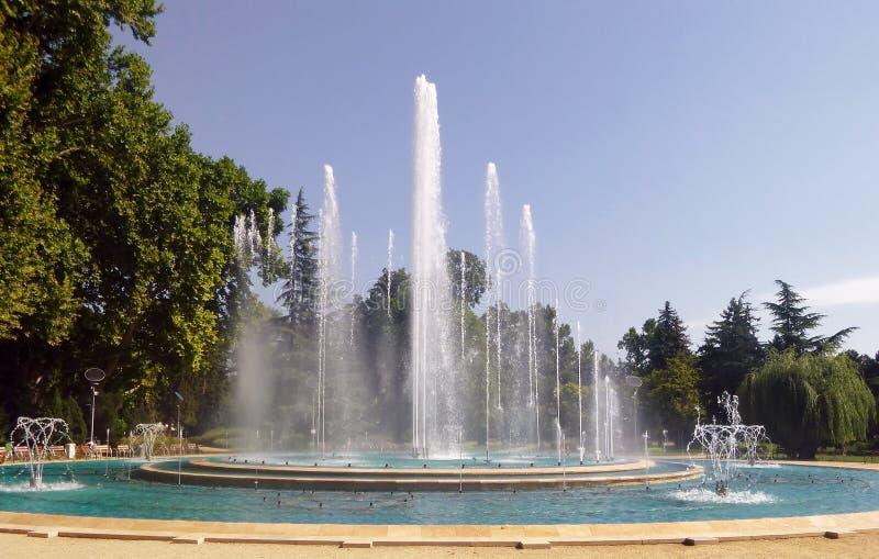 Muzyczna fontanna przy Margaret wyspą w Budapest Węgry obraz stock
