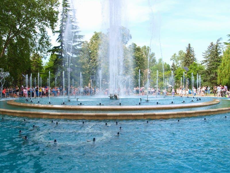 Muzyczna fontanna w Margaret wyspie, Budapest obrazy royalty free