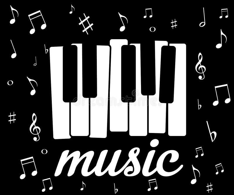 Muzyczna ikona z fortepianowymi i muzykalnymi notatkami, ilustracja wektor