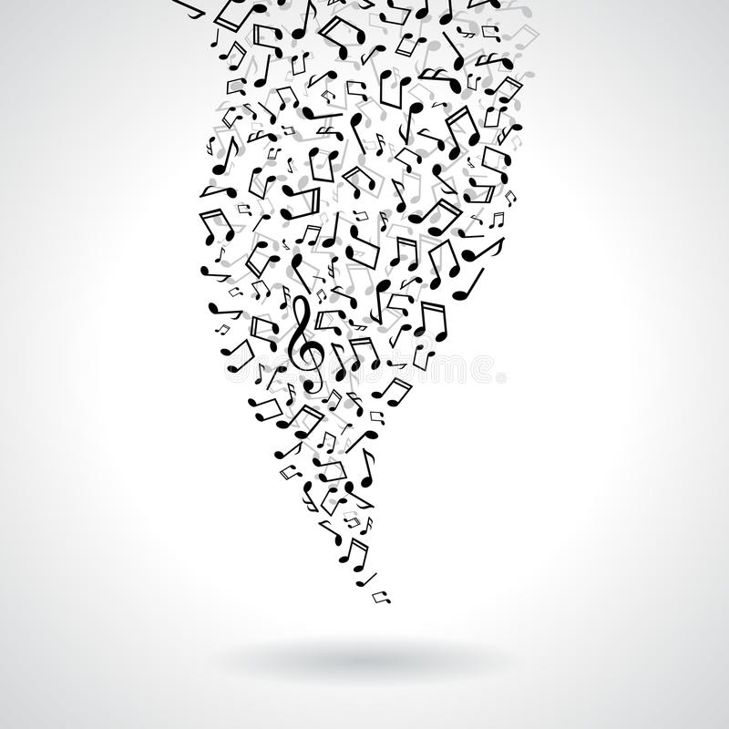 Muzyczna ilustracja z spada notatkami na białym tle Wektorowy projekt dla sztandaru, plakat, kartka z pozdrowieniami ilustracja wektor