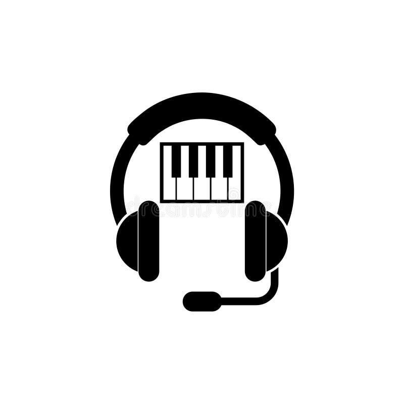 Muzyczna klawiatura i muzyka hełmofon logo ilustracji