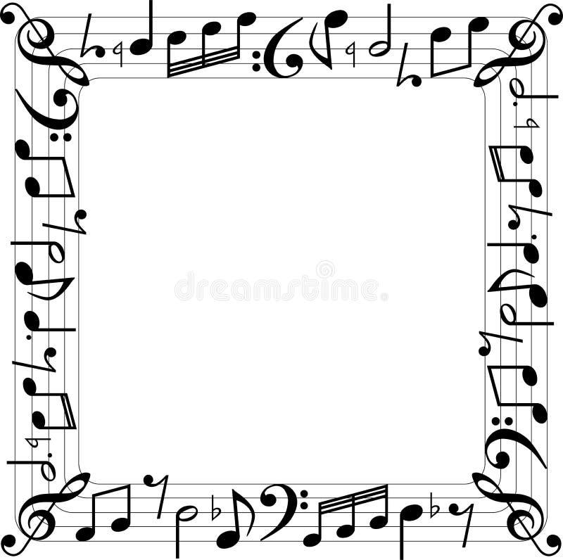 Muzyczna notatki kwadratowego pudełka granica ilustracja wektor