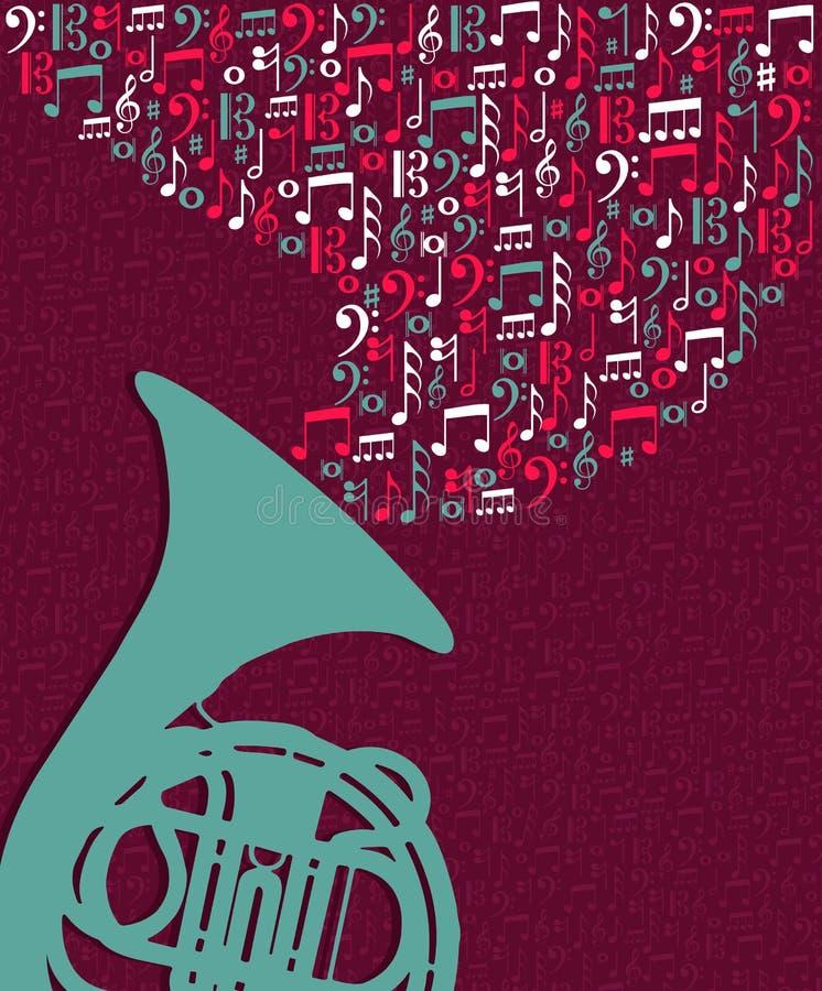 Muzyczna notatki pluśnięcia Tuba ilustracja ilustracji