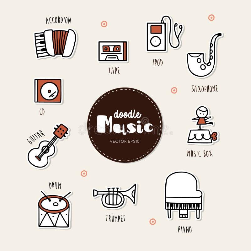 Muzyczna ręka rysować doodle ikony ustawiać royalty ilustracja