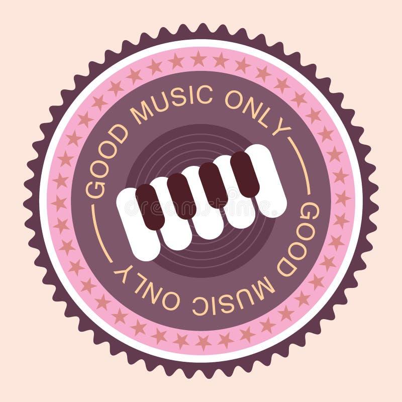 Muzyczna round etykietka ilustracja wektor