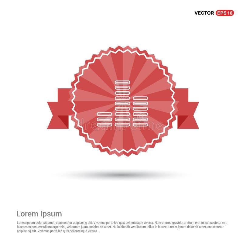 Muzyczna rozsądnej fala ikona - Czerwony Tasiemkowy sztandar ilustracja wektor