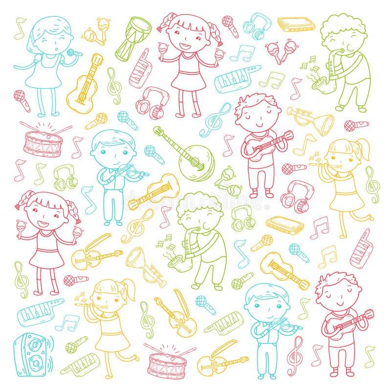 Muzyczna szkoła dla dzieciaków Wektorowych ilustracyjnych dzieci śpiewa piosenki, bawić się instrumentu muzycznego dziecina Doodl royalty ilustracja
