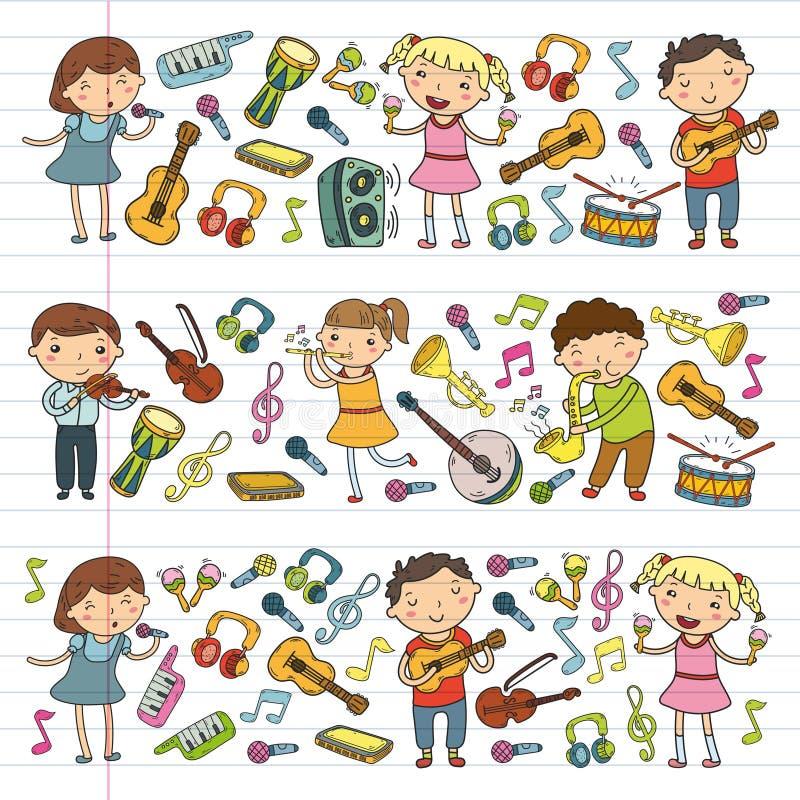 Muzyczna szkoła dla dzieciaków Wektorowych ilustracyjnych dzieci śpiewa piosenki, bawić się instrumentu muzycznego dziecina Doodl ilustracji