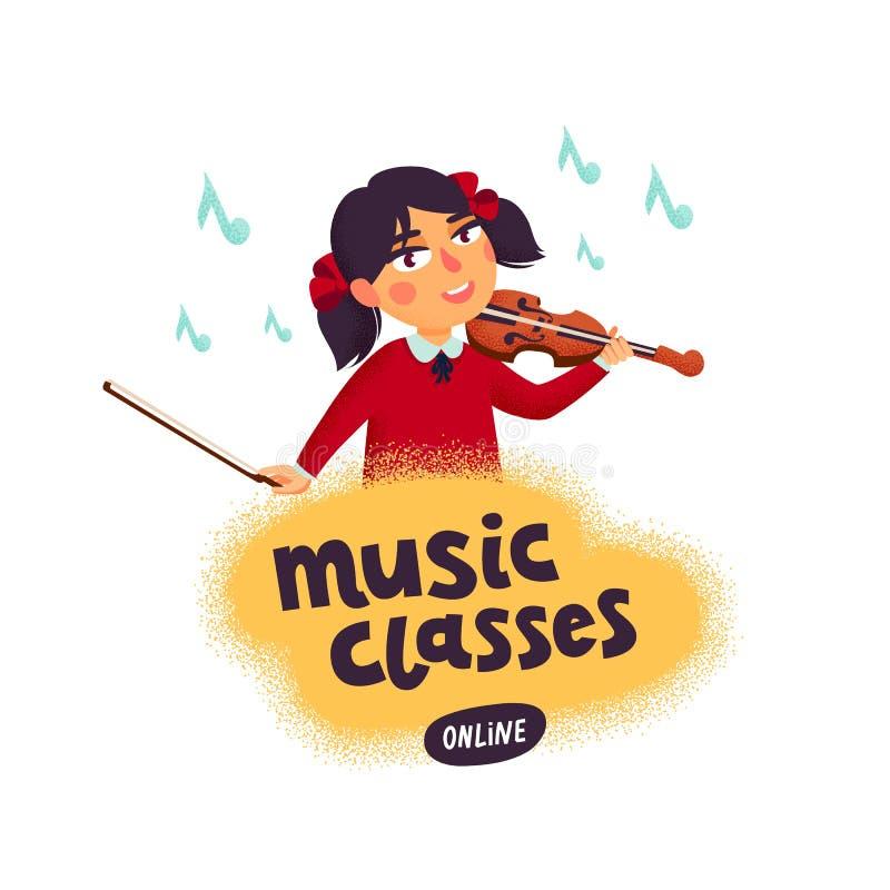 Muzyczna szkoła Skrzypaczki chłopiec charakter bawić się skrzypce Dzieci z instrumentami muzycznymi Wektorowa płaska kreskówka royalty ilustracja