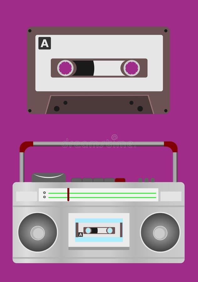 muzyczna taśma, taśmy radio na tle lub kaseta i royalty ilustracja