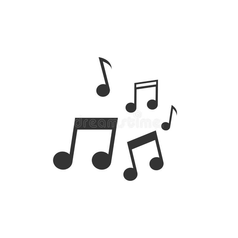 Muzyczna wektorowa ikona lub pojęcie dla logo projekta Czystego i płaskiego czerni ikona na białym tle Muzyka zauważa graficzną i ilustracja wektor