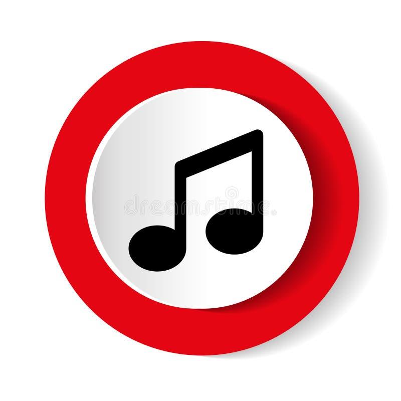 Muzyczna wektorowa ikona Round czerwona ikona na białym tle ilustracja wektor
