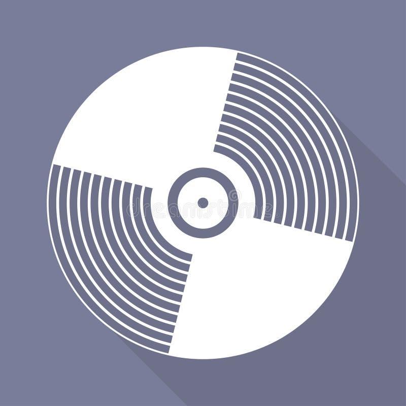 Muzyczna winylowa talerzowa ikona, płaski projekt royalty ilustracja