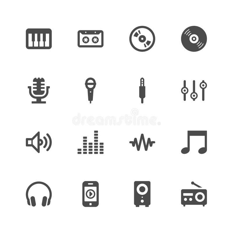 Muzyczne ikony ilustracja wektor