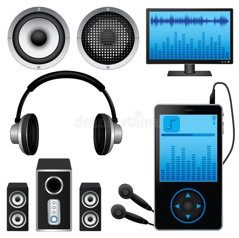 Download Muzyczne ikony Ustawiać ilustracja wektor. Obraz złożonej z notatki - 32157932
