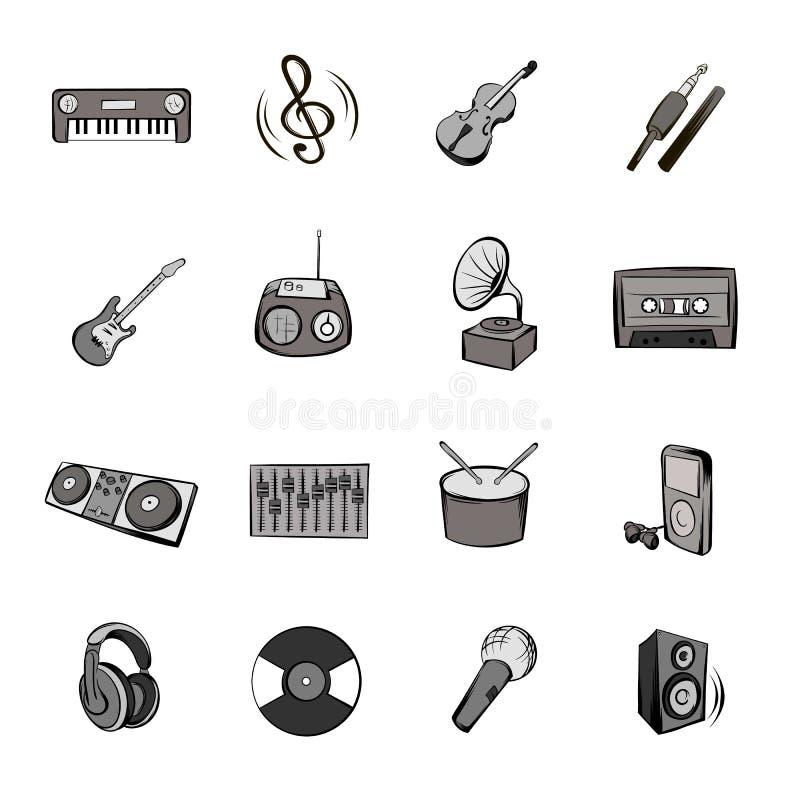 Muzyczne ikony ustawiają kreskówkę ilustracja wektor