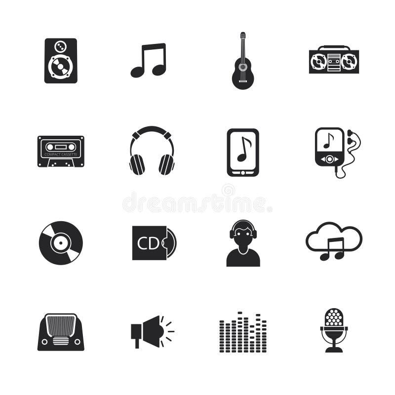 Muzyczne ikony ustawiający wiszącej ozdoby czerń ilustracja wektor