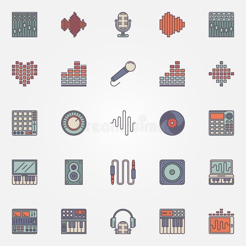 Muzyczne magnetofonowe ikony royalty ilustracja
