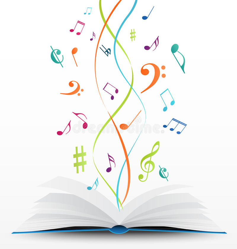 Muzyczne notatki na otwartym książkowym tle royalty ilustracja