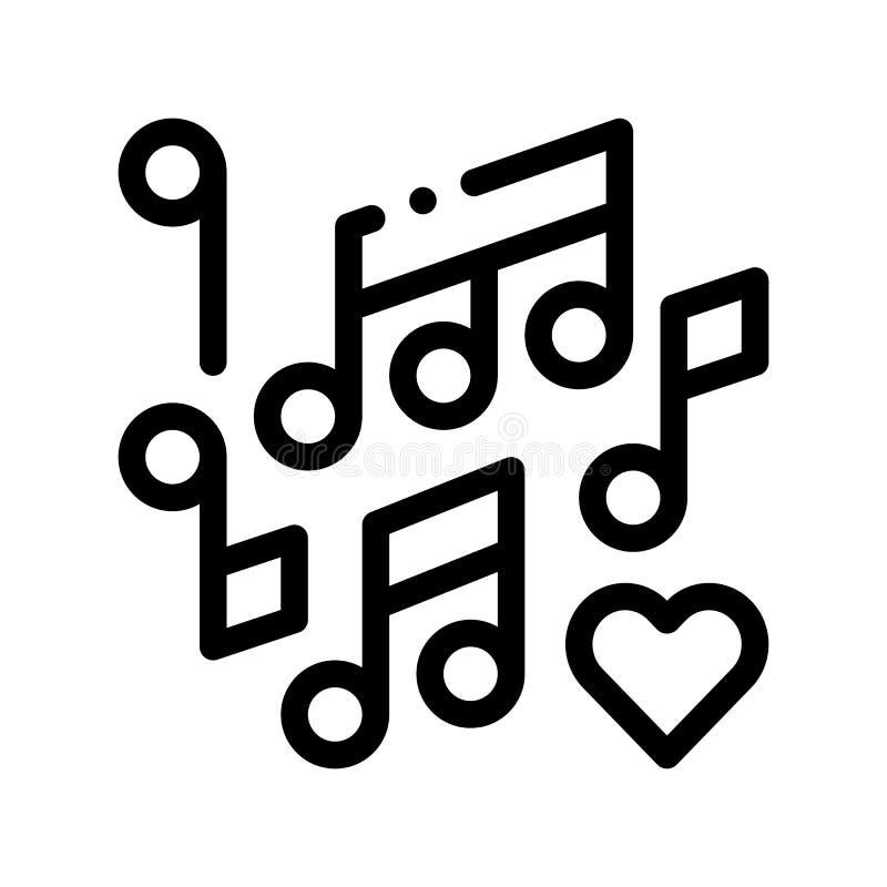 Muzyczne notatki Poślubia taniec Cienką Kreskową Wektorową ikonę ilustracji