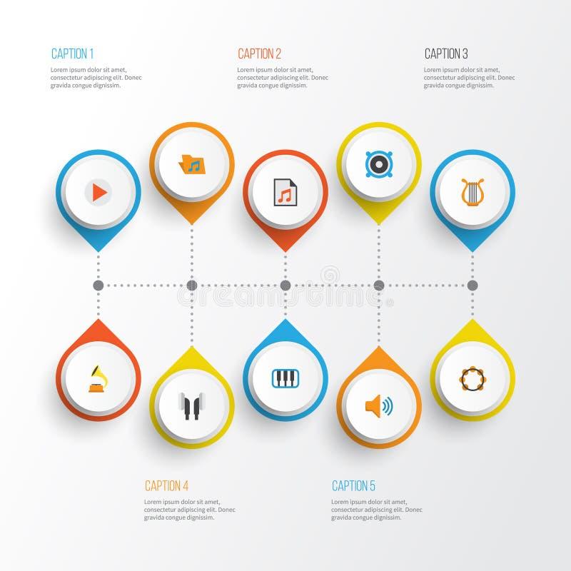 Muzyczne płaskie ikony ustawiać Kolekcja gumilaka, rytm, Pianoforte I Inni elementy, Także Zawiera symbole Tak jak rytm ilustracji