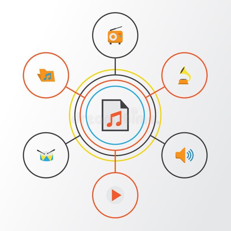 Muzyczne płaskie ikony ustawiać Kolekcja guzik, gumilaka, środki I Inni elementy, Także Zawiera symbole Tak jak pojemność ilustracji