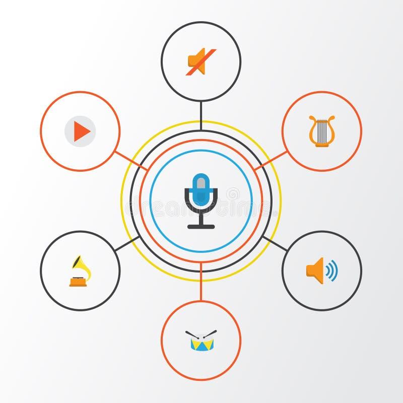 Muzyczne płaskie ikony ustawiać Kolekcja sonata, gumilaka, zaciszność I Inni elementy, Także Zawiera symbole Tak jak głos ilustracja wektor