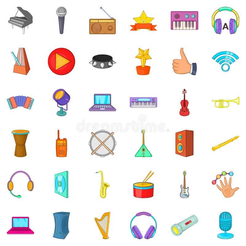 Muzyczne pracowniane ikony ustawiać, kreskówka styl royalty ilustracja