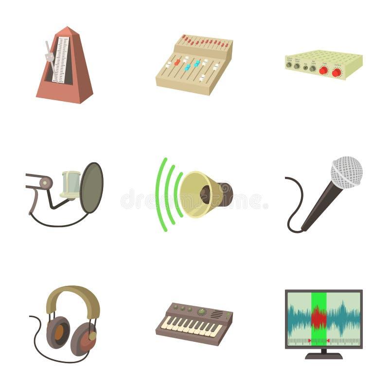 Muzyczne pracowniane ikony ustawiać, kreskówka styl ilustracja wektor