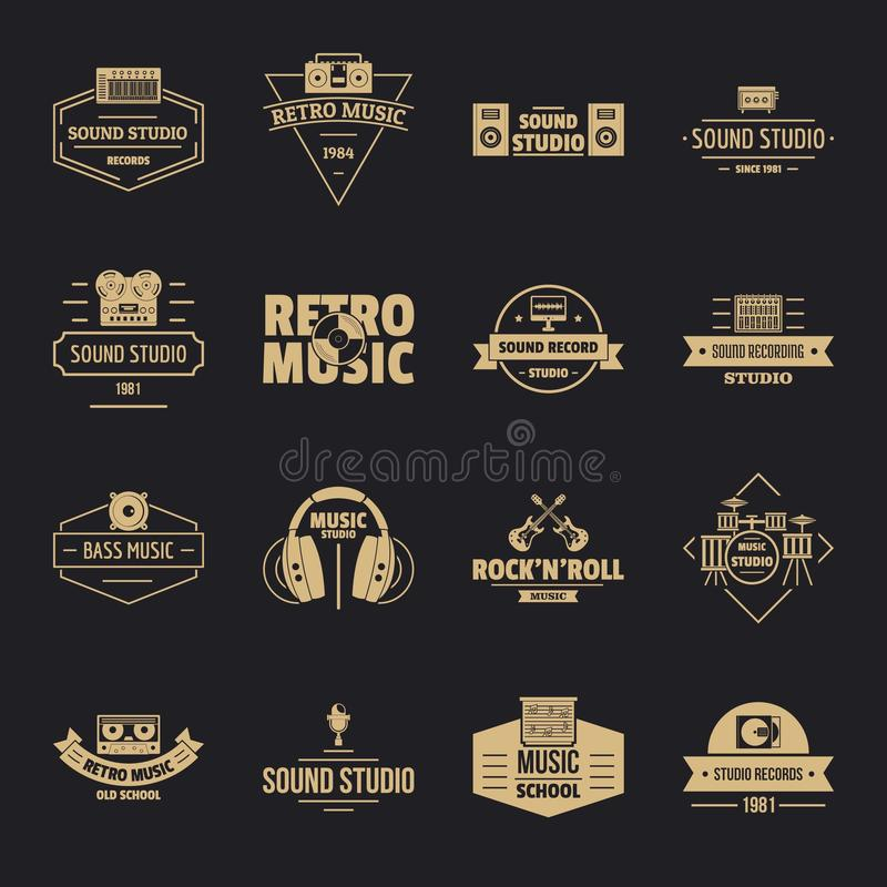 Muzyczne pracowniane logo ikony ustawiają, prosty styl ilustracja wektor