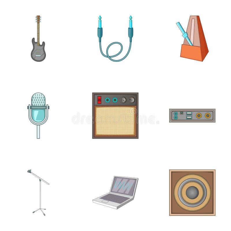 Muzyczne pracowniane wyposażenie ikony ustawiać, kreskówka styl ilustracji