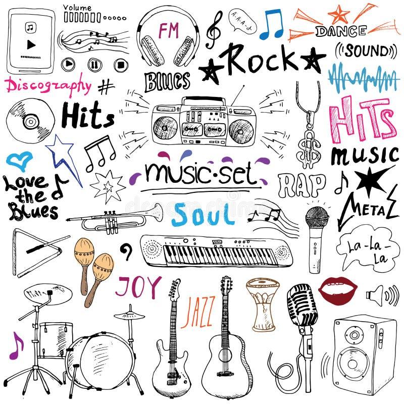Muzyczne rzeczy doodle ikony ustawiać Ręka rysujący nakreślenie z notatkami, instrumentami, mikrofonem, gitarą, hełmofonem, bęben royalty ilustracja