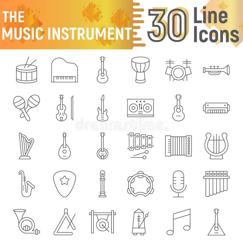 Muzycznego instrumentu ikony cienki kreskowy set, muzykalni symbole kolekcja, wektor kreśli, logo ilustracje, dźwięków znaki ilustracja wektor