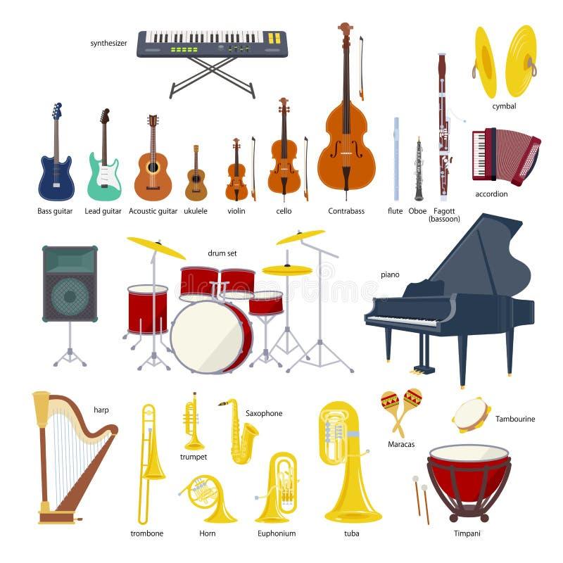 Muzycznego instrumentu ilustraci wektorowy set ilustracja wektor