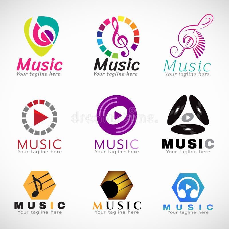 Muzycznego loga wektoru ustalony projekt - muzyka klucza znak i cd sztuka hełmofon i znak podpisujemy royalty ilustracja