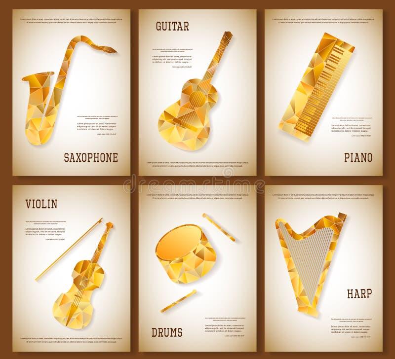 Muzycznego magazynu układu ulotki zaproszenia saksofonowy skrzypcowy pianino bębni gitary harfy trójgraniastego projekt Wektorowy royalty ilustracja