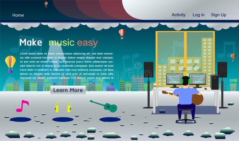 Muzycznego pracownianego strona internetowa szablonu srebra kolorowa wektorowa ilustracja eps10 ilustracji