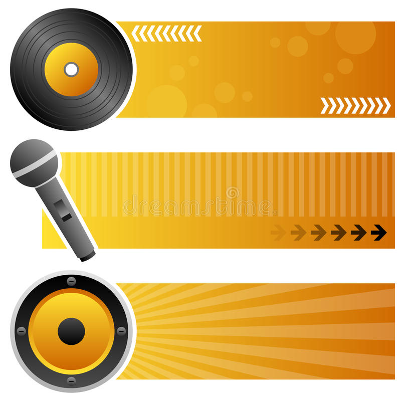 Muzyczni Horyzontalni sztandary ilustracja wektor