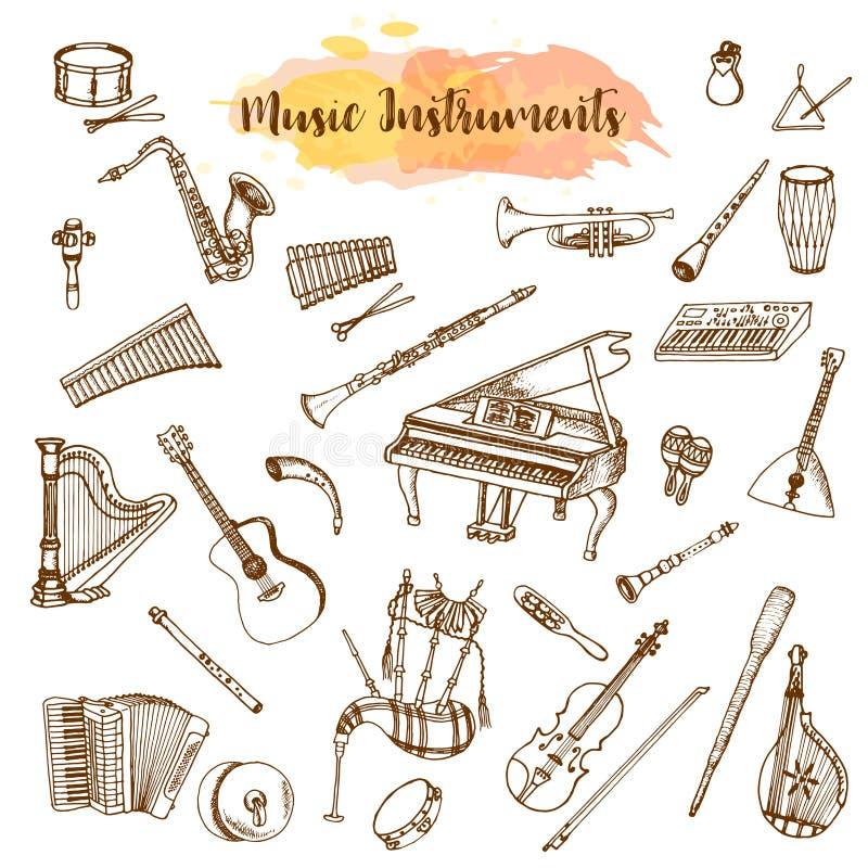 Muzyczni instrumenty, ręka rysująca ilustracja w doodle stylu Rocznika piaono, skrzypce, gitara i saksofon, Duży musical ilustracji