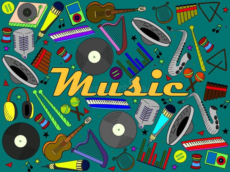 Muzyczni instrumenty wektorowi ilustracji