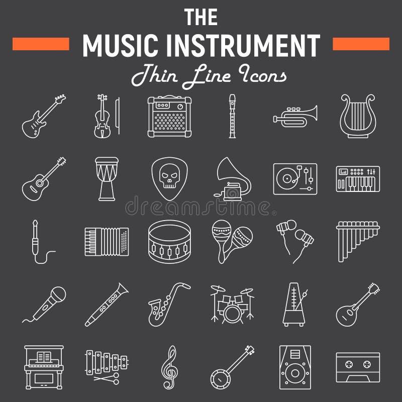 Muzyczni instrumenty wykładają ikona set, audio symbole ilustracji