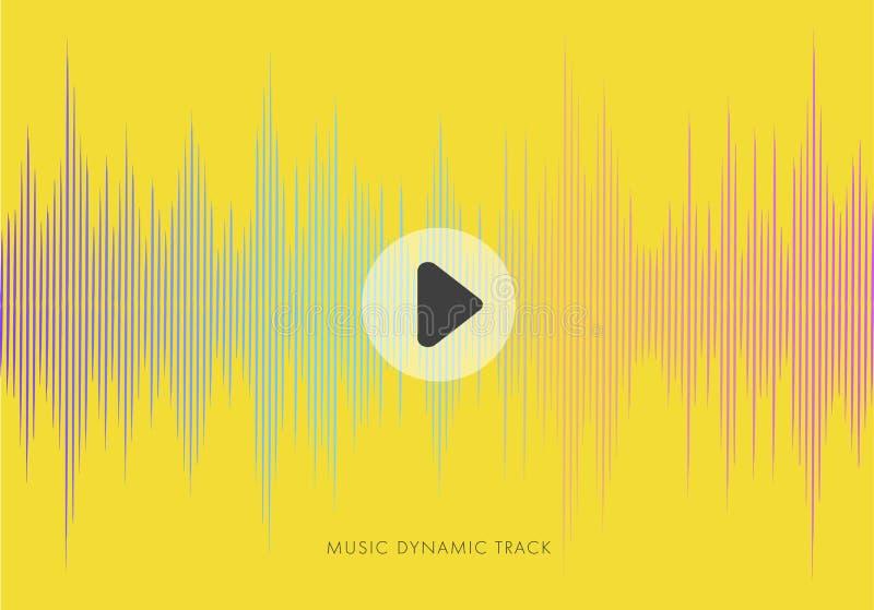 Muzyczny abstrakcjonistyczny żółty tło z rozsądną falą ilustracji