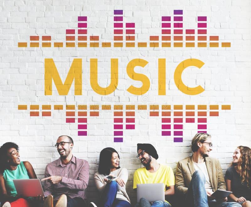 Muzyczny Audio piosenki fala grafiki pojęcie obrazy stock