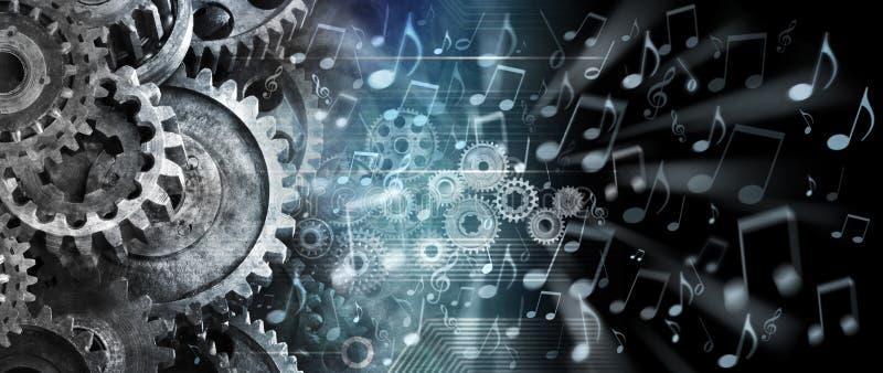 Muzyczny Cogs technologii tło obrazy royalty free